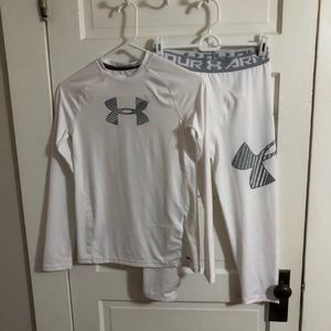 Under Armour Outfit Fitted UPF 30+ White Boys YLG